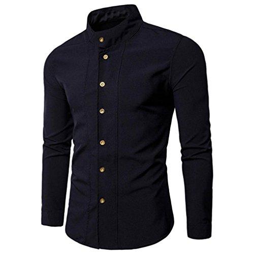 Camisa Hombre, Manadlian Tops casuales los hombres moda Camisa manga larga delgada (XL, Negro)