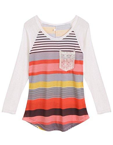 ... ZEARO Damen T-Shirt Spitze Oberteile Pullover Bluse Tunika Langarm  Shirts Tops Rot ...