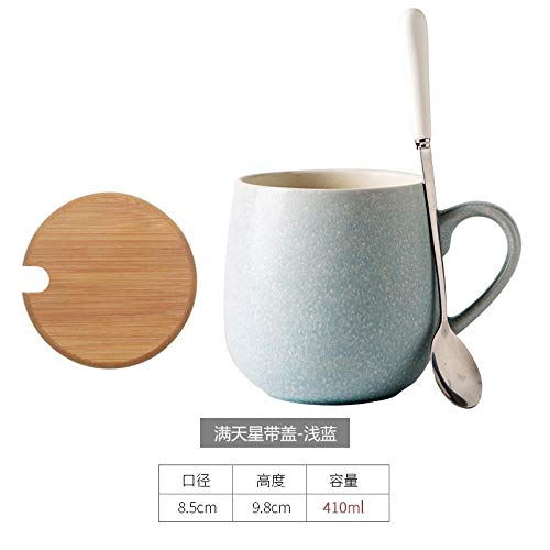 Daily life service products Creative Milk Cup, Water Cup, Simple Ceramic Coffee Cup, Lovely Belly Cup, Light Blue with lid Light Blue Cup