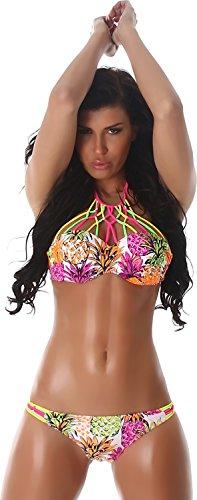 PF-Fashion delle donne Bikini Halter Due frutti pezzo colorato Ritagli