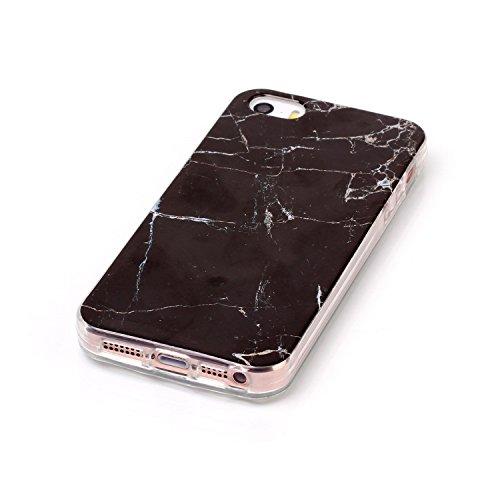 Coque iPhone 5S,Coque iPhone 5,Coque Étui Case pour iPhone 5S 5 & iPhone SE,ikasus® Coque iPhone 5S 5 & iPhone SE Silicone Étui Housse Téléphone Couverture TPU avec Motif Gleaming de texture de marbre Noir Marble