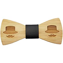 BOBIJOO Jewelry - Nodo De La Mariposa De Madera De Bambú Hombre De Bigote, Sombrero De Caballero Hechos A Mano De Cuero