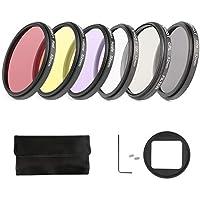 D & F 52mm Kit de filtro de fotografía profesional para GoPro Hero 3+ / 4 Funda de carcasa original Paquete de 6, filtro rojo, filtro amarillo, filtro morado, filtro UV, filtro CPL, filtro ND4