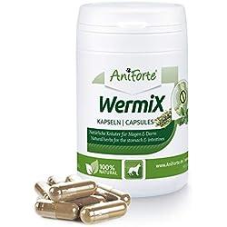 AniForte WermiX pour chiens 50 capsules - produit naturel avant, pendant et après une infestation de vers, l'absinthe, les herbes naturelles harmonisent l'estomac et l'intestin