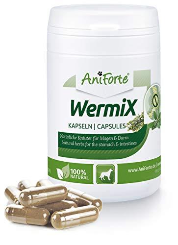 AniForte WermiX für Hunde 50 Kapseln - Naturprodukt vor, während und nach Wurmbefall und Wurmkur mit Saponine, Bitterstoffe, Gerbstoffe, Wermut, Naturkräuter harmonisieren Magen & Darm -