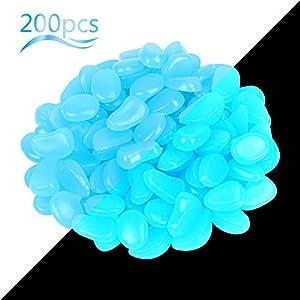 ZoomSky 200 Stücke Blau Leuchtsteine, Leuchtende Kieselsteine Fluoreszierende Steine für Aquarium Garten Kindergeburtstag Dekoration (200Stk Leuchtsteine Blau)