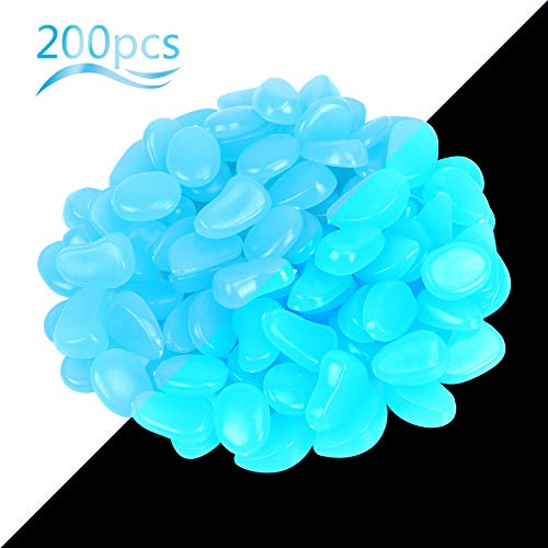 ZoomSky Pietra luminosa 200 PCS Ciottoli luminosi Resina glowing stone Illumina il tuo giardino acquario Affascinante luce blu Decora l'atmosfera da sogno per te