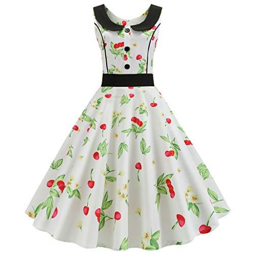 t 50s Petticoat Dresses Polka Dot Rockabilly Dresses Cocktail Dresses Vintage 50s Cap Sleeves Rockabilly Retro Dresses Hepburn Style Party Dress(Weiß 1,M) ()