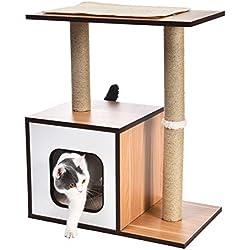 AmazonBasics - Mueble de árbol de madera con dos postes rascadores para gatos, 61x38,1x73,7 cm