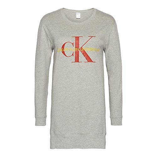 Calvin Klein Logo Nightshirt - Monogram - Grey Heather Small