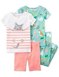 Carters - Set de Pijama de 4 Piezas con Estampado de Mascotas, Color Verde,