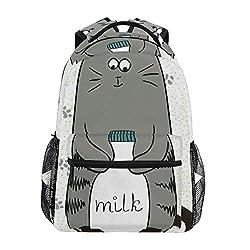 DISLONLY Rucksack Sporttasche Freizeittasche,Schüchterne sitzende Pussy mit Einer Flasche Milch auf Tatzen-Hintergrund kindisch