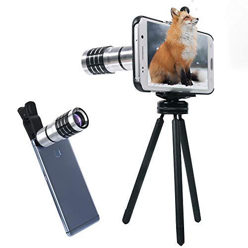 Zoom Manuelle Fokus Handy Teleobjektiv Samsung Objektiv mit Mini Stativ + Universal Telefonhalter + Telefon Fall + Reinigungstuch für Samsung S6/S7/S6 S7 Edge