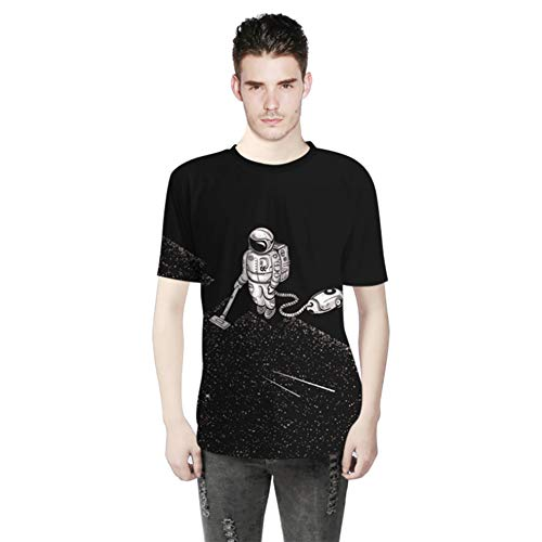 WQWQ Personalisiertes T-Shirt, kurzärmeliges Shirt mit Astronauten-Aufdruck, Funktionelle Slim Fit-Sweatshirt-Passform für Erwachsene und Kinder 100% Baumwolle X XL XXL,A,L - Kinder-erwachsenen-sweatshirt Mit Rundhalsausschnitt