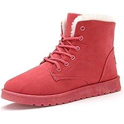 Minetom Donna Lace Up Pelliccia Neve Stivali Autunno Inverno Calzature Female Sneaker Moda Anguria rossa EU 39