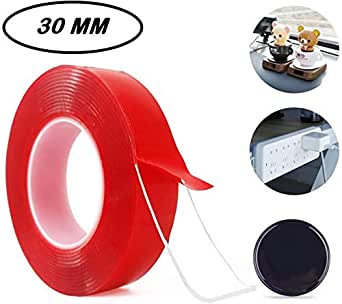 SKUDGEAR 30mm Double Sided Transparent Tape for Wall Hanging, Craft, Home, Office Purposes