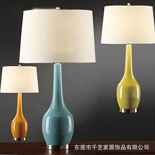 BBSLT American giallo blu arancione zucca ceramica lampada da tavolo home lungo il collo al posto letto in ceramica lampade da
