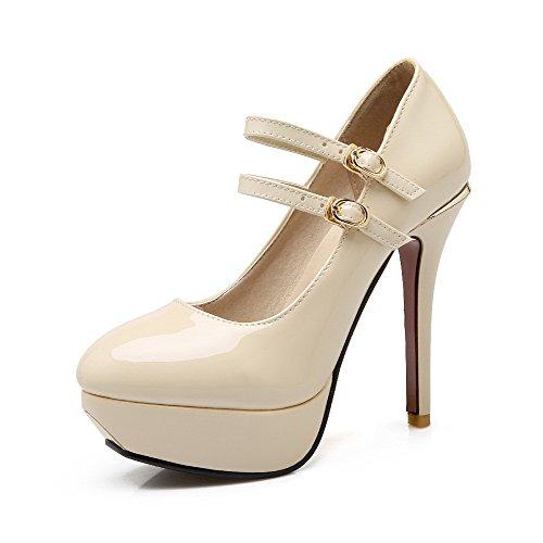 VogueZone009 Femme Verni Rond à Talon Haut Boucle Couleur Unie Chaussures Légeres Beige