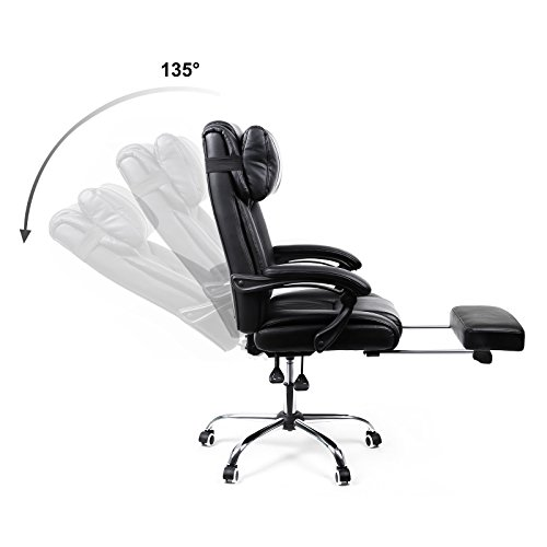 Songmics Office Computer Desk Chair with Footrest and Adjustable back OBG71B