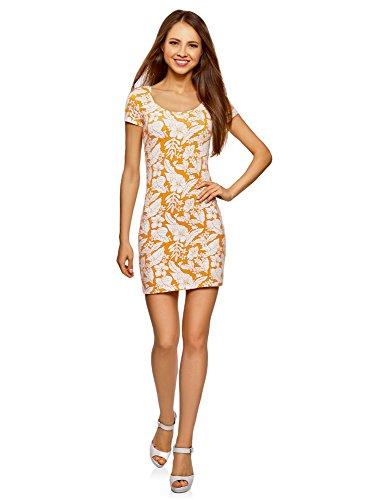 oodji Ultra Damen Enges Jersey-Kleid, Gelb, DE 40 -