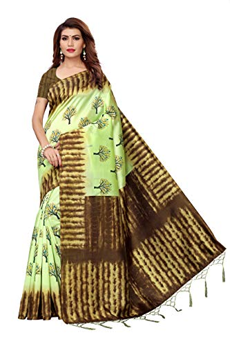 Indian Women's Art Silk Kalamkari and Bhagalpuri Style Sari with Blouse Piece NAGMAA Tree Pista