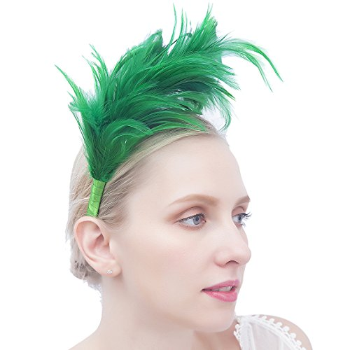 Felizhouse 1920s Fascinators For Women Feathers Flapper Headband Wedding Royal Ascot Racing Tea Party Head Piece (St Patricks Day Green)