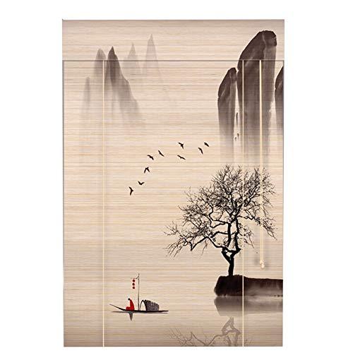 WENZHE Cortina di bambù Tenda A Rullo in bambù Stampa Paesaggio Dipinto di Paesaggio Stile Cinese Retro Casa Installazione Interna/Esterna, 4 Colori, Dimensione Personalizzabile