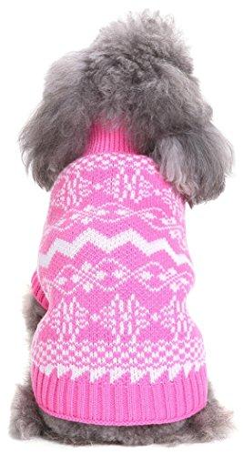 Fair-isle-rollkragen-pullover (smalllee Lucky Store Wave Print weichen Rollkragen Knit Kabel Hund Pullover Chrismas Strickwaren Pullover Winter warm Urlaub Pullover)