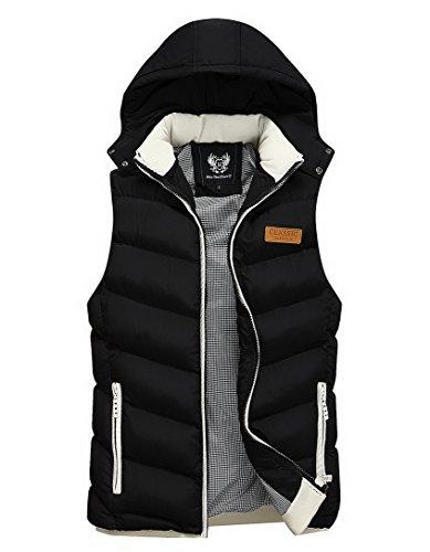 Feoya Herren Winter Weste Daunenweste Steppweste Jungen Ärmellose Jacke Jacket mit Abnehmbarer Kapuze - Schwarz Größe XXXL Winter Weste
