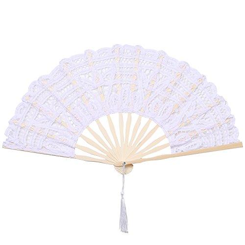 ArtiDeco Lace Handfächer Retro Stil Spitzen Fächer mit Bambusrahmen für Party Dekoration Damen 1920s Kostüm Zubehör (Weiß)