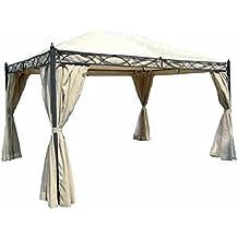Carpa 'Vittoria' estructura de metal barnizado a polvo. Toalla de cubierta de poliéster 180gr./M², palo diámetro 60mm. Completo de cortinas Mosquitera. Color Crudo.