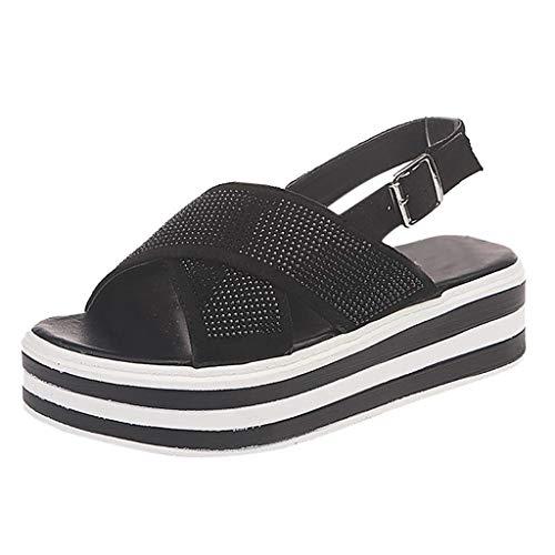 ufige T-Bügel-Zapfen-Sandelholze Justierbare Knöchel-Wölbung-Sommer-Strand-Flache Schuhe Drehen Reinfälle Durch (Color : Schwarz, Size : 35 EU) ()