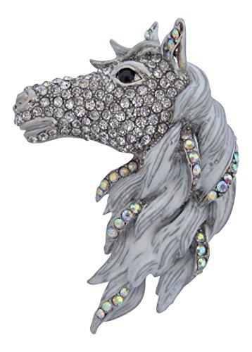 rsilberte Emaille und Kristall Set, groß Pferd Brosche Pferdekopf Weiß Hengst Pony Pin (E Ponys-picks)