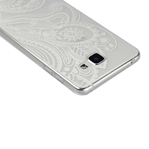 Galaxy A7 (2016) Hülle, SainCat Silikon Hülle Tasche Handyhülle [Kratzfeste, Scratch-Resistant] TPU Gel Bumper Case Weiches Transparentes Silikon Schutzhülle Crystal Kirstall Clear Case Durchsichtig M Die Hälfte Blume
