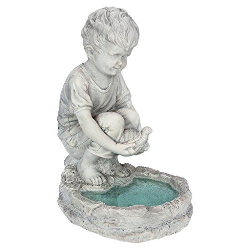 Design Toscano SH38100313 Statue de Tommy le petit garçon à l'étang aux tortues Multicolore 29 x 23 x 40,5 cm
