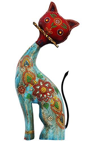 Garten Deko Figuren Katze Bunt 36cm groß aus Metall | XL Vintage Dekofiguren als Gartendeko | Dekofigur als Tischdeko auf dem gedeckten Tisch | Tierfiguren als Kunstfiguren im Balkon oder Terrasse -