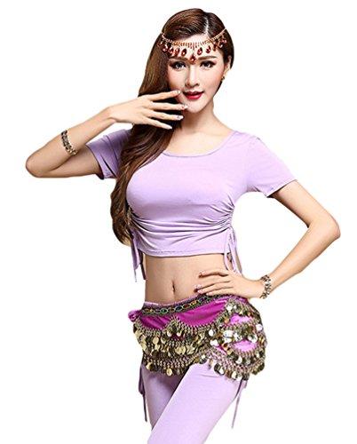 YiJee Damen Bauchtanz Tops Shirt Bandage Belly Dance Kostüm Violett L (Türkische Bauchtänzerin Kostüm)
