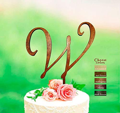 Ethelt5IV Hochzeitstorte Topper Brief w rustikale Cake Topper für Hochzeit Monogramm Cake Topper Initialen Cake Topper personalisierte Cake Topper CT477 (Brief E-hochzeitstorte Topper)