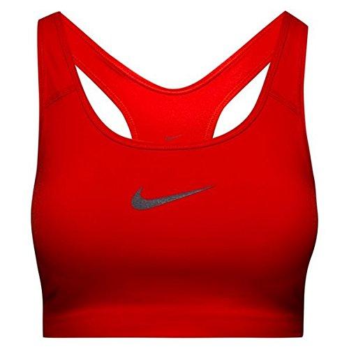 Nike Damen Classic Swoosh Sport-Bh mit Mittlerem Halt - Rot (Habanero Red/Gunsmoke), XS