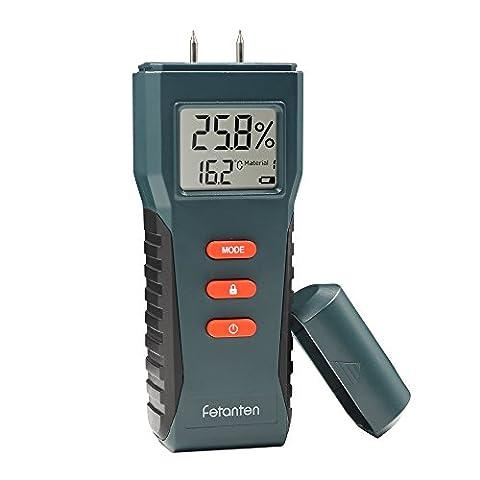 Fetanten Testeur de mesure de l'humidité du bois, Digital LCD Détecteur d'humidité pour les grumes de bois de bois Plateau de cloisons sèches Béton Sheetrock Ciment Lime Brick