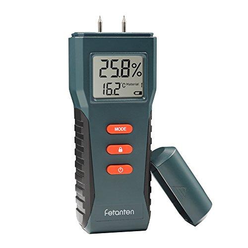 Fetanten Klassischer Feuchtemessgerät, Digital LCD Holz Baustoffen Feuchtigkeitsmesser Detektor Luftfeuchtigkeit Messung für Wände Holz Brennholz Lime Putz Beton Brick