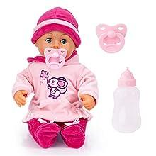 Bayer Design- First Words Baby, Bambola parlante 24 Suoni, 38cm, Colore Rosa, Topo, 93824BD