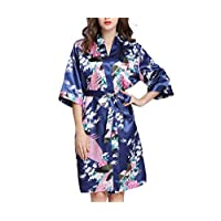 فستان نسائي Charmeuse من الساتان أثناء الليل من DressU مطبوع عليه الطاووس ثوب كيمونو كحلي US L=China XL