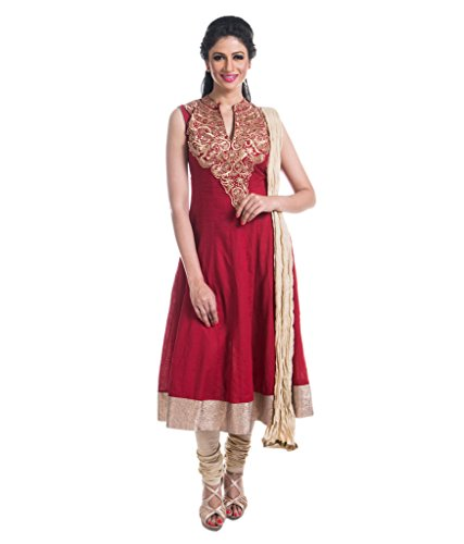Cynthia's Fashion, CFK241_COT_AK_SS, Cotton Solid Color Salwar Suit, Zari Emboridered Kurta, Anarkali Cut with Cotton Churidar or Leggings and Dupatta Set  available at amazon for Rs.1999