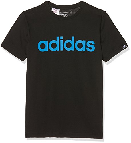 adidas Jungen T-shirt YB ESS LIN Tee, Schwarz/Blau, 164, 4056562683447