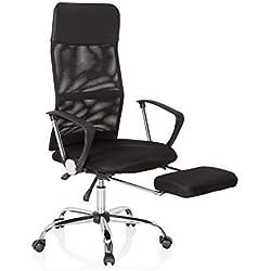 hjh OFFICE 621956 Drehstuhl Pure Relax Kunstleder/Netz Schwarz Bequemer Home-Office Chefsessel mit Fußablage