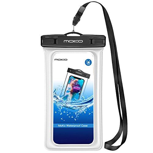 MoKo Wasserdichte Hülle Tasche Outdoor Strand Schutzhülle mit Schwimmend Fuktion Kompatibel mit iPhone 7 6 6S 5SE 7 Plus, Samsung Galaxy S5 S6 S7 Edge J5 A5, 4-5.7 Zoll Smartphone - IPX8, Weiß