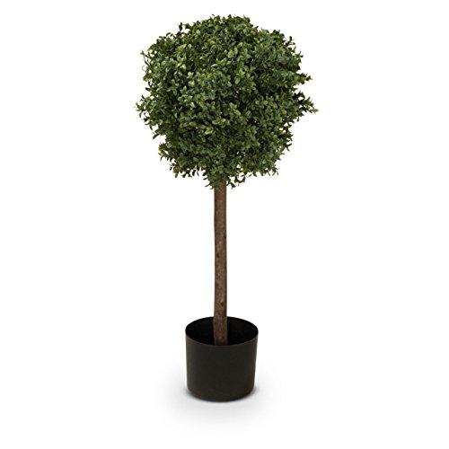 Buchsbaum Kunstpflanze FINN 90 Kunstbaum, Buxbaum, künstlicher Buchsbaum mit Naturstamm, 35x35x90 cm (L/B/H)