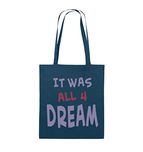Comedy Bags - It was All Four Dream - KLEINE Zahl - Jutebeutel - Lange Henkel - 38x42cm - Farbe: Navy/Violet-Fuchsia