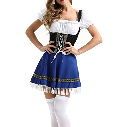 Damen Trachten-Mode Best-Price Midi Dirndl Bine in Dunkelblau traditionell, Frauen Beer Festival Kleid Maidservant Kleid Beer Festival Cosplay Kostüme, Blau, 3XL (Zum Kostüme Cosplay Verkauf Besten)